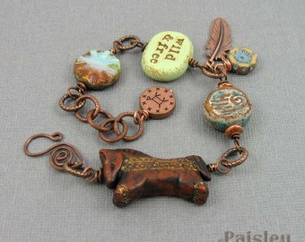 Wild Mustang bracelet| Southwestern jewelry, antiqued copper chain, carved horse and narrative beads