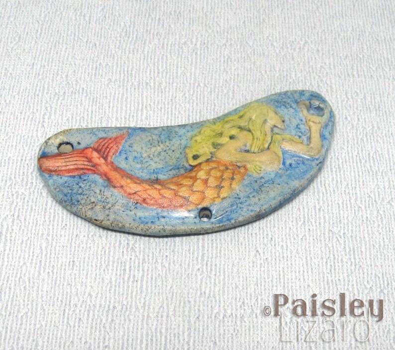 Mermaid Pendant Connector polymer clay art bead