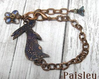 Indigo Hare bracelet, Paisley Lizard boho art jewelry