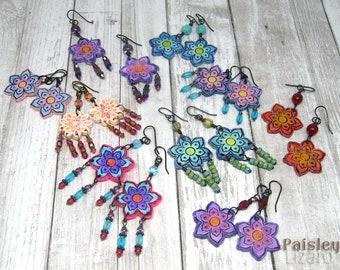Flower Power Earrings, boho art jewelry by Paisley Lizard