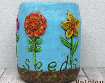 Folk Art Flowers Planter Utensil Tool Holder by Paisley Lizard