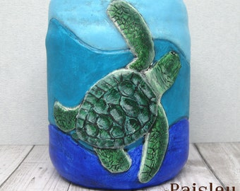 Sea Turtle Hatchlings Planter Utensil Tool Holder by Paisley Lizard