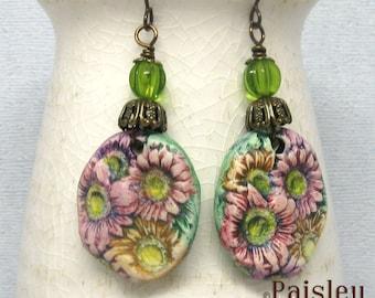 Gerbera Daisy Dangle Earrings, boho art jewelry by Paisley Lizard