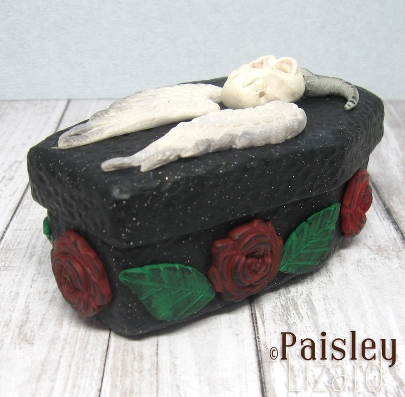 Fallen Angel coffin stash box gothic keepsake box