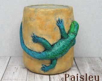 Blue Green Lizard Planter Utensil Tool Holder by Paisley Lizard