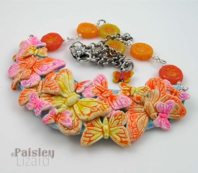 polymer clay collage and beads on silver chain Citrus Butterfly Bib Necklace adjustable length
