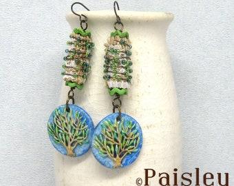 Tree of Life Dangle Earrings, boho art jewelry by Paisley Lizard