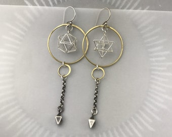 Sacred Geometry Plutonic Solid Earrings With Merkaba and Icosahedron