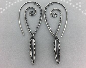 Tribal Swirl Earrings With Granulation Spikes