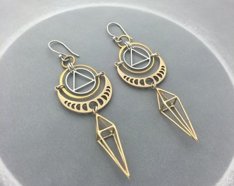 Geometric Moon Phase Earrings with Pyramid Cage Spike Dangle