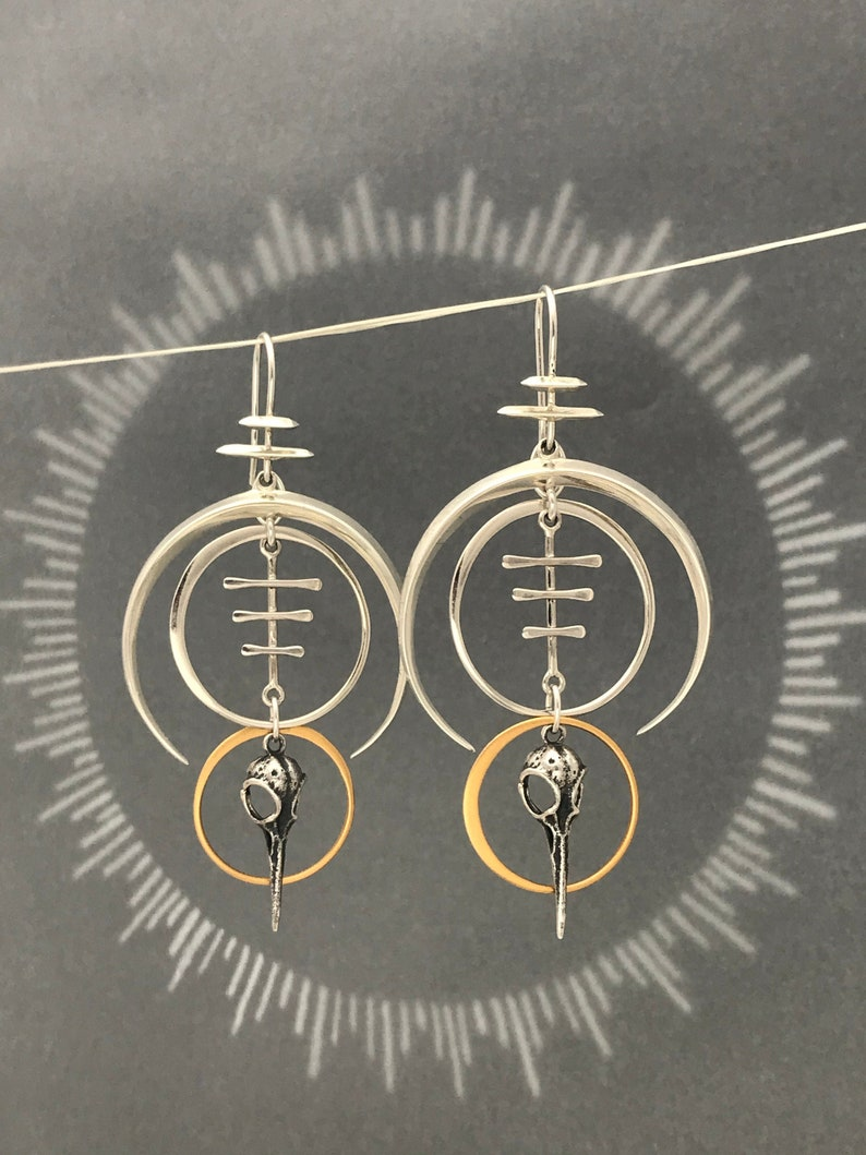 Geometric Hummingbird Skull Earrings with Silver Crescent image 0