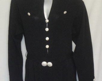 Stunning Don Sayres for Wellmore Black Knit Jumpsuit Rhinestone Buttons Saks 5th Ave. 12