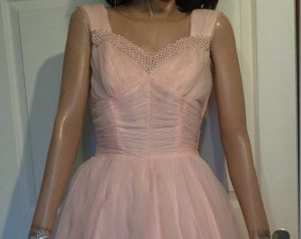 Vintage 50s Pink Chiffon Party Dress Full Skirt Silver Trim B36 Side Zipper