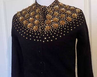 Vintage Black Lambswool Angora Beaded Sequin Sweater Lined Eagle Hong Kong 36