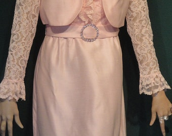 Vintage 50s Black Lace and Chiffon Panels Party Dress B36