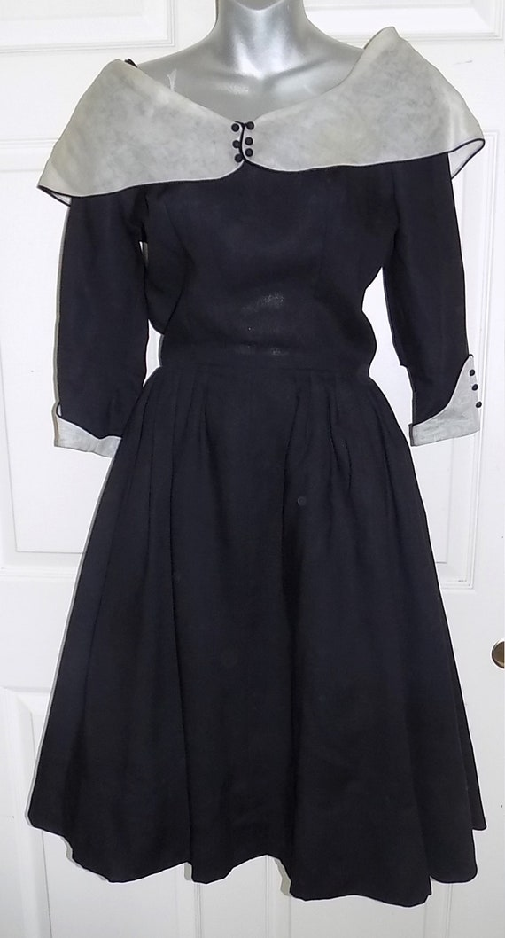 Vintage Black Imported Fabric Party Dress Wide Whi