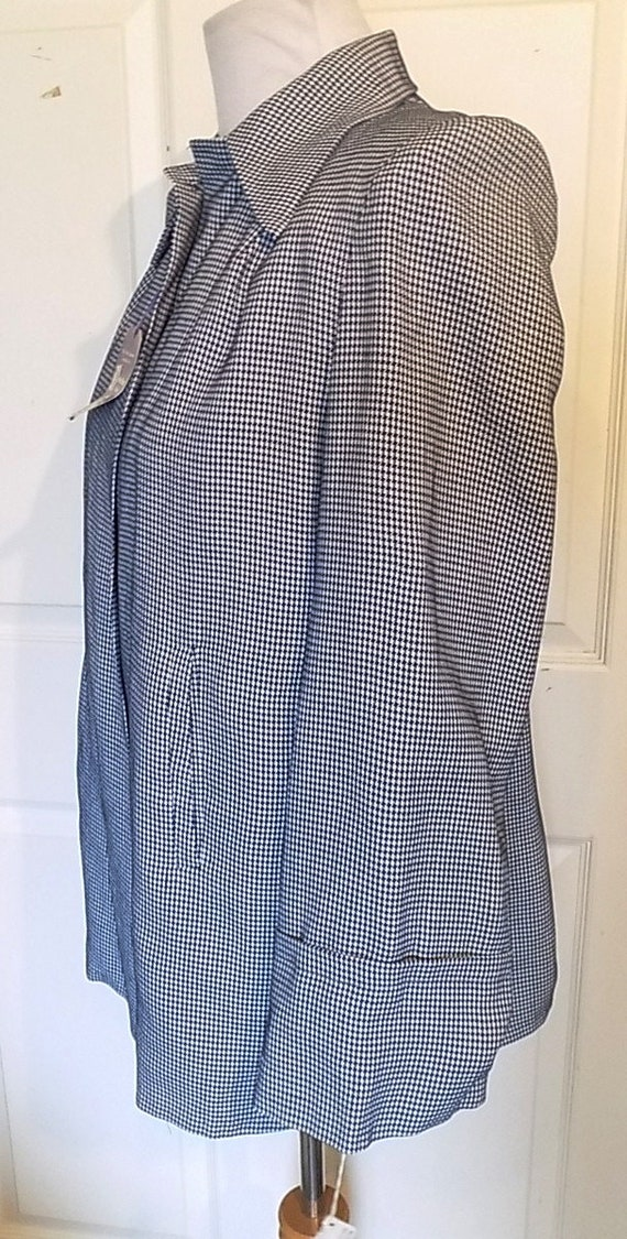NOS 40s 50s Navy White Checked Swing Jacket Pleat… - image 2
