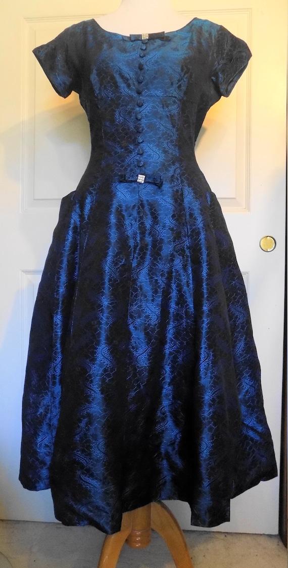 Vintage 50s Midnight Blue Brocade Party Dress Rhin