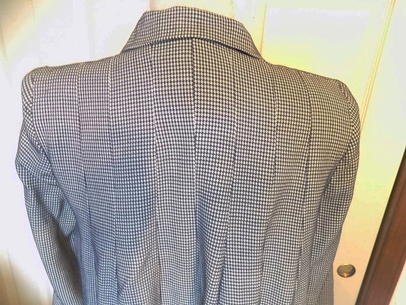 NOS 40s 50s Navy White Checked Swing Jacket Pleat… - image 4