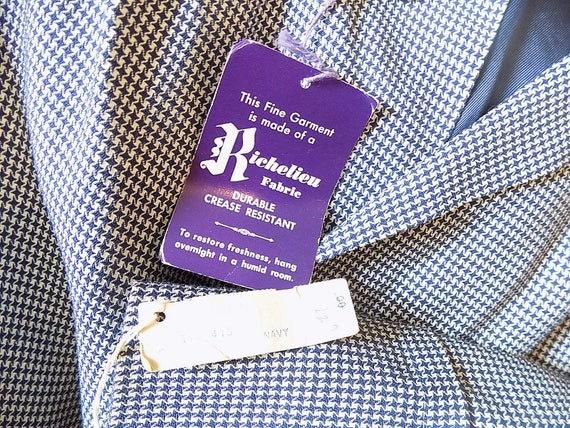 NOS 40s 50s Navy White Checked Swing Jacket Pleat… - image 6