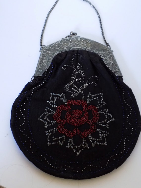 Antique Black Fabric Beaded Floral Purse Ornate Ch