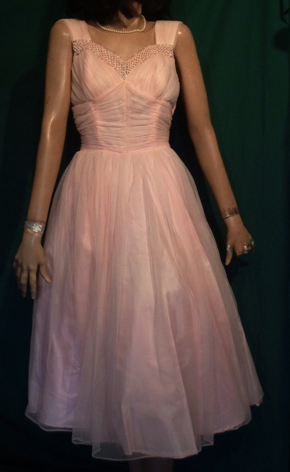 1950s Pink Chiffon Ruched Prom Party Dress Full Sk