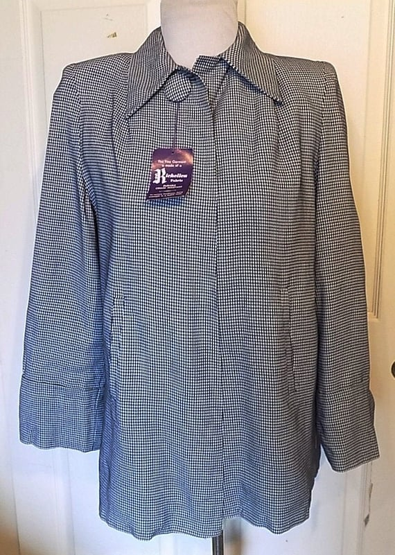 NOS 40s 50s Navy White Checked Swing Jacket Pleate
