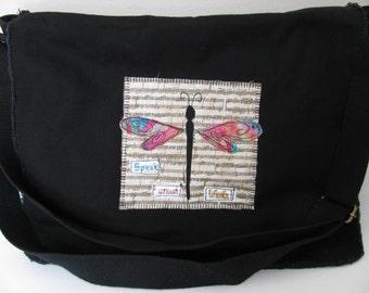 Messenger Bag, Canvas Messenger Bag, Black Messenger Bag, Book Bag, Diaper Bag, School Bag, Dragonfly Theme,  Appliqued Messenger Bag