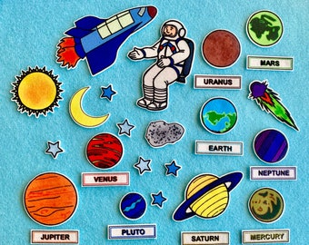Space Adventures - Solar System Felt Board Set- Planets. Science . Home School activity