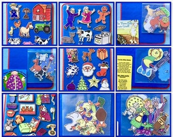 Felt Board Story Pack *ALL IN ONE*  Includes pre-cut felt set, Storytelling Lap Board & book/ story sheet .Home school. Indoor Activities