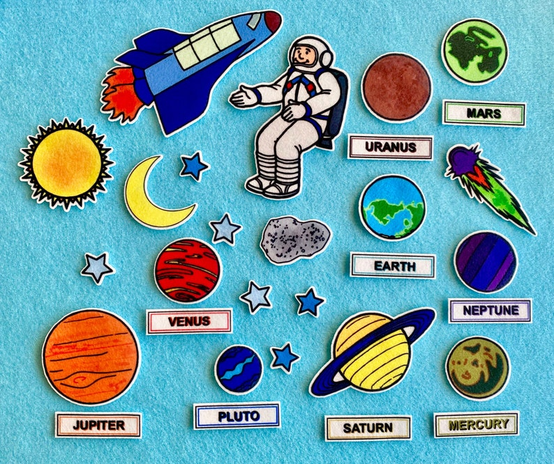 Space Adventures  Solar System Felt Board Set Planets. image 0