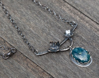Apatite Flower Necklace | Sterling Silver | One of a Kind