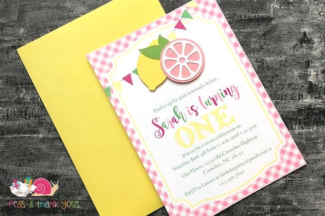 Pink Lemonade Invitations A6 Flat Fuchsia Blossom Pink Sunshine Yellow Handmade Birthday Party Baby Shower