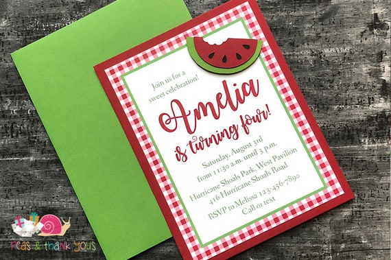 watermelon birthday party invitations a2 layered red etsy