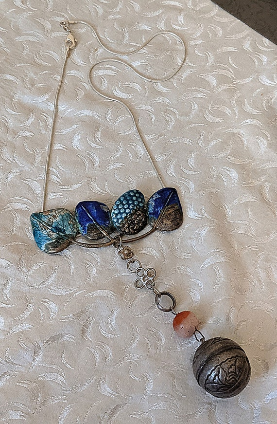 Antique CHINESE BELL and Enameled Finding  on Ster