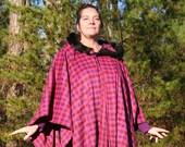 Hot Pink Purple Black Plaid Wool Hooded Cape Tartan Fur Trimmed Hood READY TO SHIP