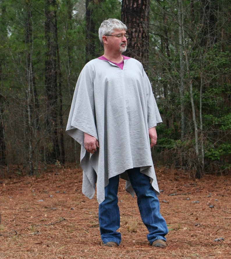 Grey or Natural Linen Blend VNeck Poncho Make My Day Clint Eastwood Style Big /& Tall