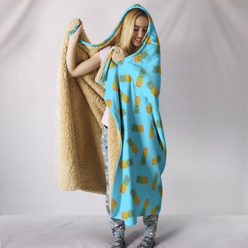 Blue Pineapples Hooded Blanket Plush Premium Sherpa Kids Adult