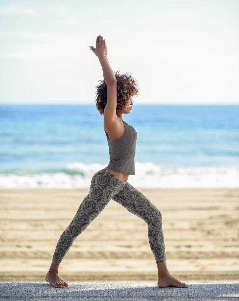 Black Rose Premium Yoga Leggings Ankle Full Length Soft Slim Tight Pants Active Sports Leggings High Waisted Workout Leggings