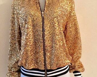 8243a9dd641 Sequin Bomber Jacket Gold