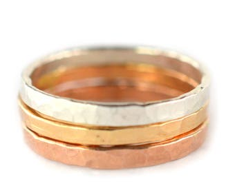 Thick Stackable Rings Set of 3, Rose, Silver, Gold Stacking Rings