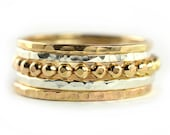 Mixed Stackable Rings Set of 5, Beaded Stacking Rings Set, Hammered Gold & Silver Rings