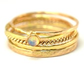 Opal Gold Stacking Ring Set of 5, Gold Skinny Rings, Hammered Ring, Size 8 OOKR055