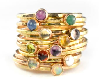 Tiny Birthstone Stacking Ring, Petite Gemstone Ring, Mothers Ring, Gold Stack Ring SGRROS-G