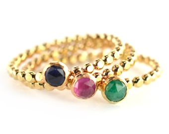 Beaded Birthstone Stacking Ring, Gemstone Mothers Ring, Beaded Stack Ring SGRBEAD-G