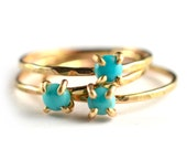 Tiny Turquoise Ring, Gold Gemstone Ring, December Birthstone Ring, SINGLE RING SPGR18