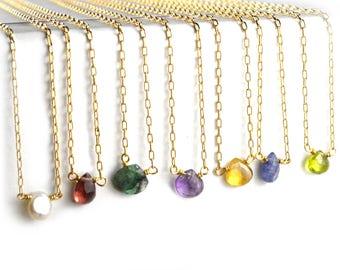 Delicate Gemstone Necklace, Petite Raw Gemstone Necklace, Tiny Birthstone Jewelry, Layering Necklace NSGP5