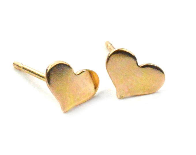 heart earrings tiny heart studs bridesmaid earrings meaningful gift dainty jewelry inspirational jewelry Rose gold Heart Studs