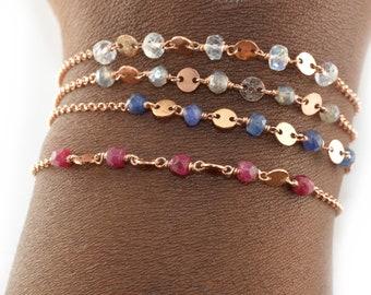Rose Gold Dainty Chain Bracelet, Delicate Beaded Bracelet, Birthstone Wish Bracelet, Custom Gifts for Her