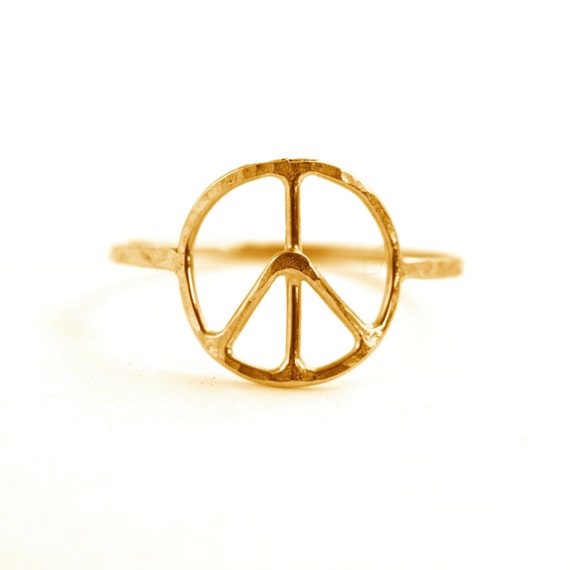 Peace Symbol Ring Peace Sign Jewelry Etsy